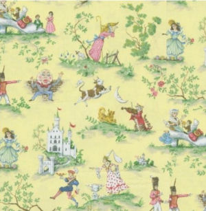 Nursery rhyme yellow toile fabric with Humpty Dumpty the cat in the fiddle and the cow jumped over the moon characters