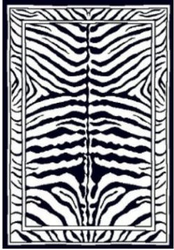 Zebra print rectangle shape area rug for a baby nursery room