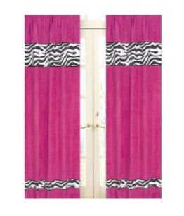 Hot pink baby nursery curtains curtain panels with custom zebra print accents