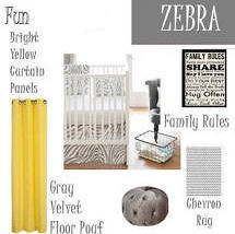 Zebra theme nursery ideas in gray yellow white and chevron stripes
