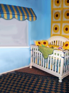Yellow and Blue Baby Bedding and a Vintage Sunflower Quilt  Adds a Touch of Tuscany to this baby nursery's interior design