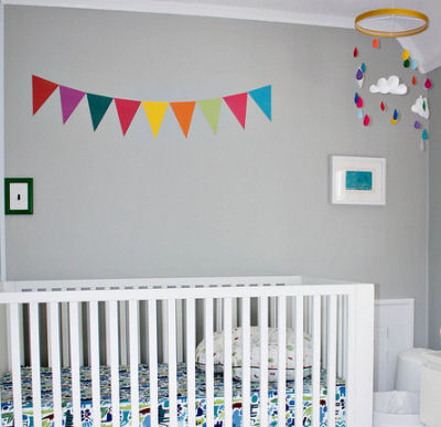Colorful Yellow and Gray Baby Nursery Design