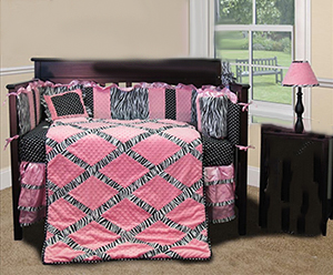 Pink and black zebra princess nursery ideas with baby bedding
