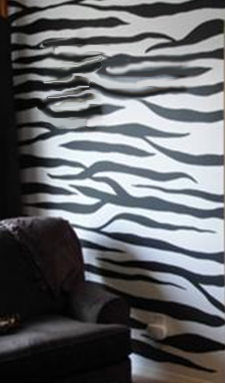 Zebra print bedroom wall painting stripes decorations decor teen girl