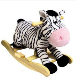 Pink and black zebra print rocking horse for a baby girl nursery