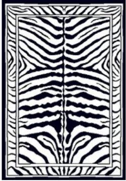 Zebra print rectangle shape area rug for a baby nursery room
