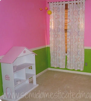 Baby Nursery Room With Bright Pink And Lime Green Wall Paint Color White Painted
