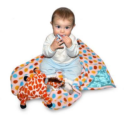 Baby loves her Zoobies Jafaru the Giraffe Blanket Pet.